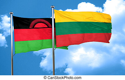 Malawi flag with Lithuania flag, 3D rendering