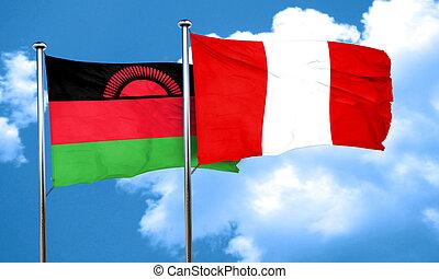 Malawi flag with Peru flag, 3D rendering