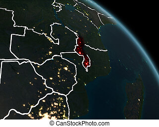 Malawi in red at night - Malawi from orbit of planet Earth...