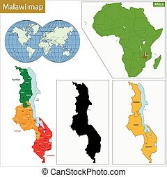 Malawi map - Administrative division of the Republic of...