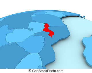 Malawi on blue political globe - Map of Malawi in red on...