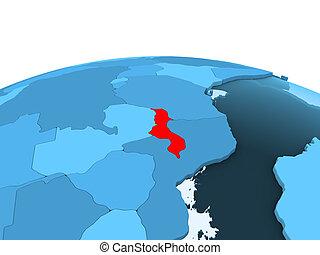 Malawi on blue political globe