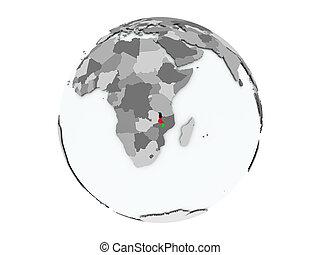 Malawi on globe isolated - Malawi on political globe with...