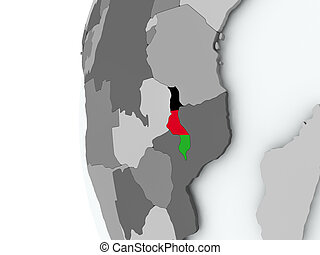 Malawi on globe with flag - Illustration of Malawi on...