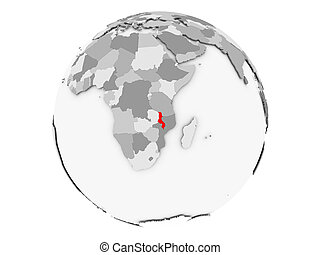 Malawi on grey globe isolated - Malawi highlighted in red on...