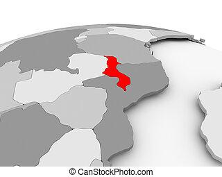 Malawi on grey globe - Malawi in red on grey model of...