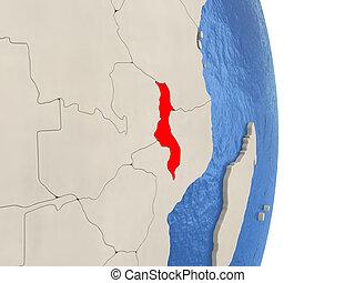 Malawi on model of political globe