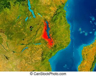 Malawi on physical map