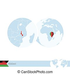 Malawi on world globe with flag and regional map of Malawi....