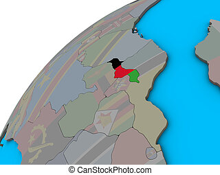 Malawi with flag on 3D globe