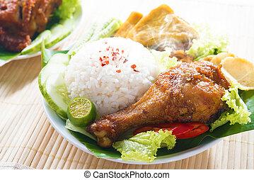 Malay food nasi ayam penyet
