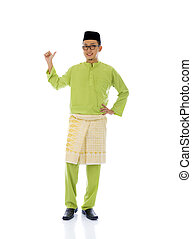 Malay indonesia male with ok sign during ramadan isolated white background