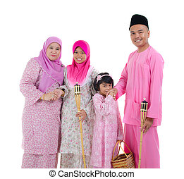 malay indonesian family during hari raya occasion isolated...