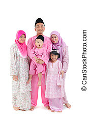 malay indonesian family during hari raya occasion isolated with white background