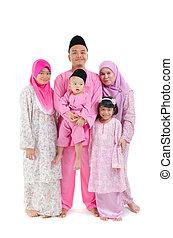 malay indonesian family during hari raya occasion isolated...
