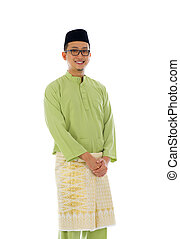 Malay male during ramadan festival with isolated white background