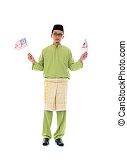 malay male with malaysian flag - malay male with malaysian...