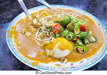 Malay Mee Rebus Dish - Malay Mee Rebus Noodle Dish Garnished...