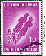 malaya, -, hacia, 1962:, un, estampilla, impreso cerca, malaya, exposiciones, niños, y, su, futuro, sombras, libre, educación primaria, introducido, enero, 1962, hacia, 1962