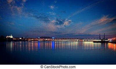 Malaya Neva river. Birzhevoy Bridge (Exchange Bridge) and the spire of Peter and Paul Cathedral. St.-Petersburg