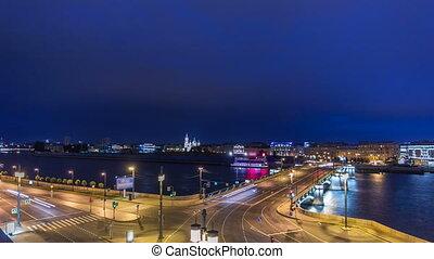 Malaya Neva river. Birzhevoy Exchange Bridge and traffic at night timelapse. St.-Petersburg, Russia