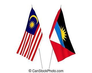 Malaysia and Antigua and Barbuda flags - National fabric ...