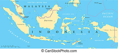 Malaysia And Indonesia Political Ma - Political map of...