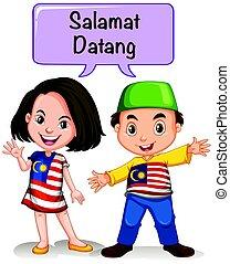 Malaysia boy and girl saying hello illustration