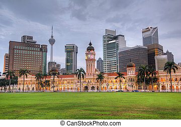 Malaysia city skyline with famous buildings, towers and...