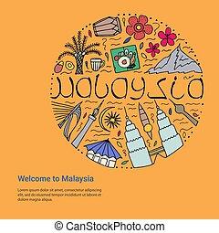malaysia, concept., benvenuto, disegno