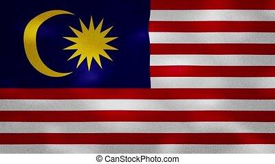 Malaysia dense flag fabric wavers, background loop - ...