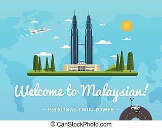 malaysia, famoso, benvenuto, attrazione, manifesto