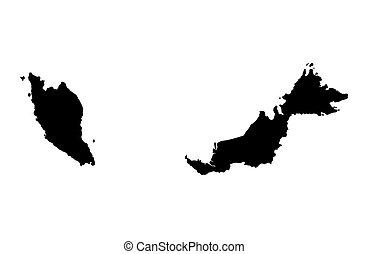 malaysia, fekete, térkép