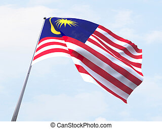 Malaysia flag flying on clear sky.