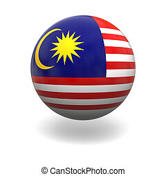 Malaysia flag - National flag of Malaysia on sphere isolated...