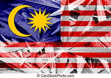 Malaysia Flag on cannabis background. Drug policy. ...