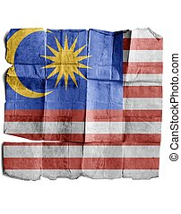 Malaysia flag on old paper.