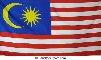 Malaysia Flag real fabric close up - Textile flag of...