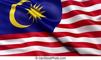 Malaysia flag seamless loop - Realistic flag of Malaysia...