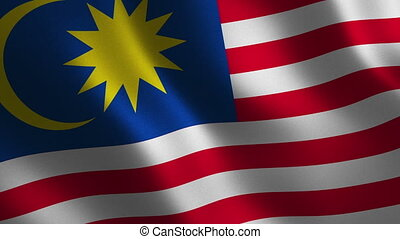 Malaysia flag waving 3d. Abstract background. Loop...
