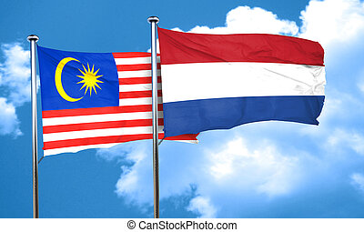 Malaysia flag with Netherlands flag, 3D rendering