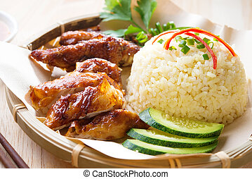 Malaysia grilled chicken rice. Asian style Hainan chicken ...