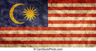 Malaysia grunge flag. Item from my vintage, retro flags collection
