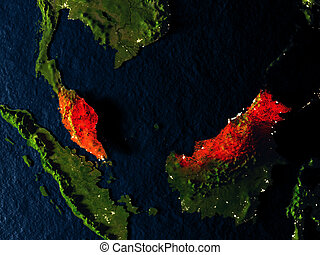Malaysia in red from space at night