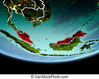 Malaysia in red in the evening
