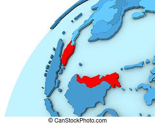 Malaysia in red on blue globe