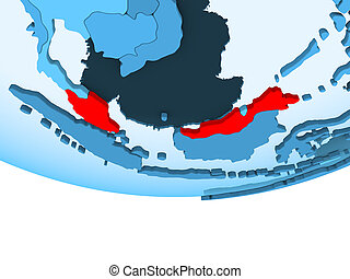 Malaysia in red on blue map