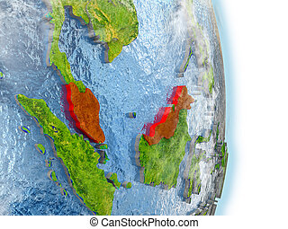 Malaysia in red on Earth