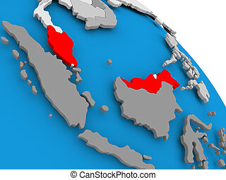 Malaysia in red on map