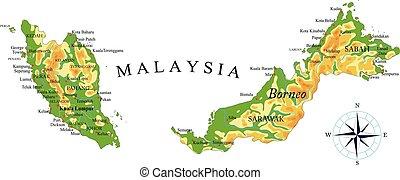 malaysia, karta, fysisk